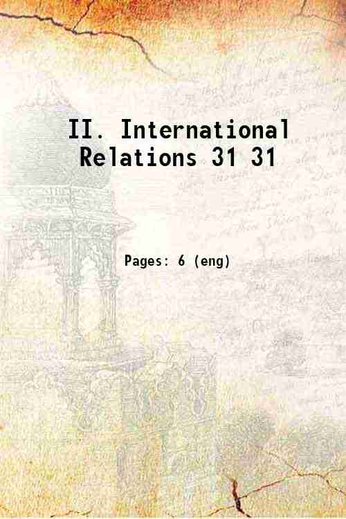 II. International Relations 31 31