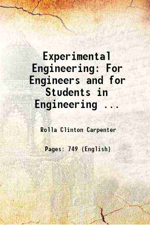 Experimental Engineering: For Engineers and for Students in Engineering ...