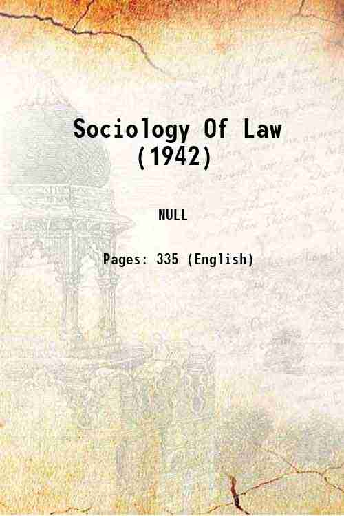 Sociology Of Law (1942)