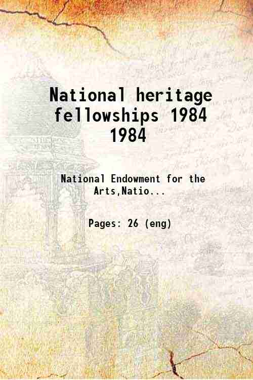 National heritage fellowships 1984 1984