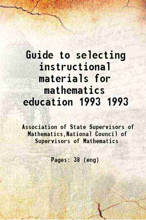 Guide to selecting instructional materials for mathematics education 1993 1993