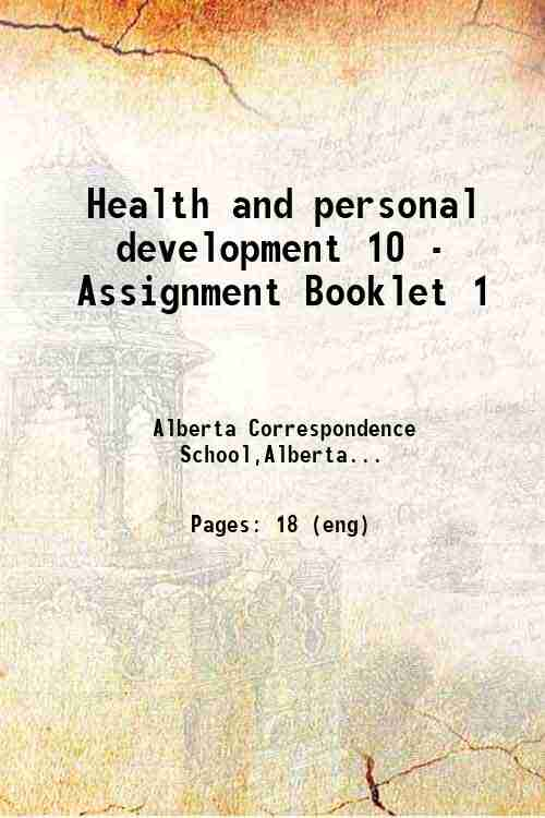 Health and personal development 10 - Assignment Booklet 1