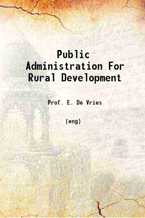 Public Administration For Rural Development