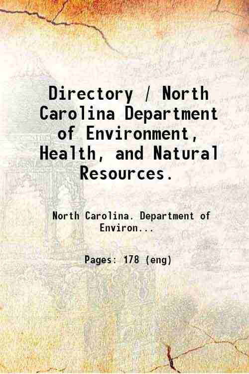 Directory / North Carolina Department of Environment, Health, and Natural Resources.
