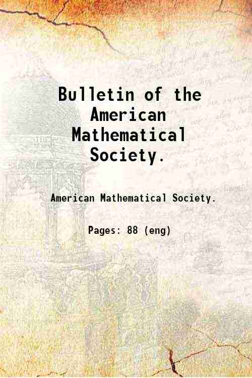 Bulletin of the American Mathematical Society.