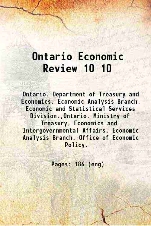 Ontario Economic Review 10 10
