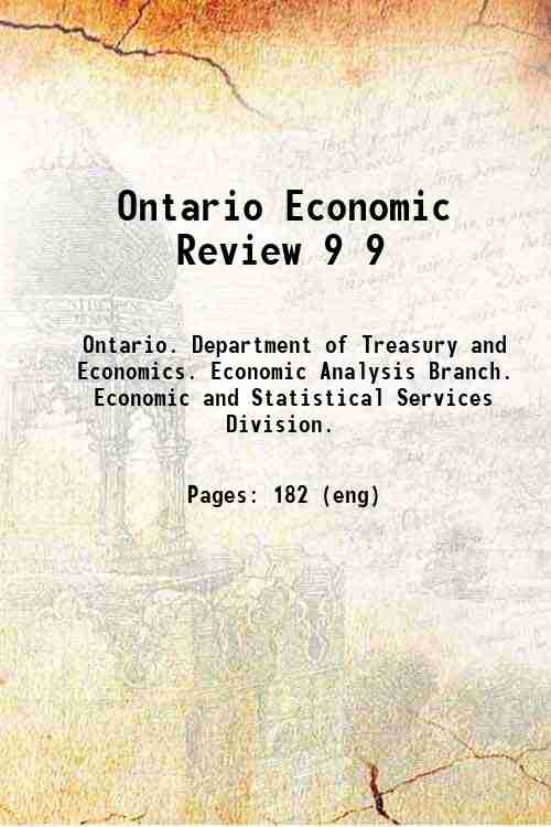 Ontario Economic Review 9 9