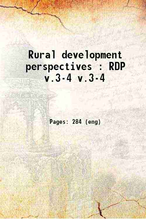 Rural development perspectives : RDP v.3-4 v.3-4