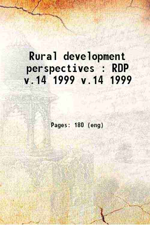Rural development perspectives : RDP v.14 1999 v.14 1999