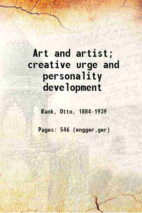 Art and artist; creative urge and personality development