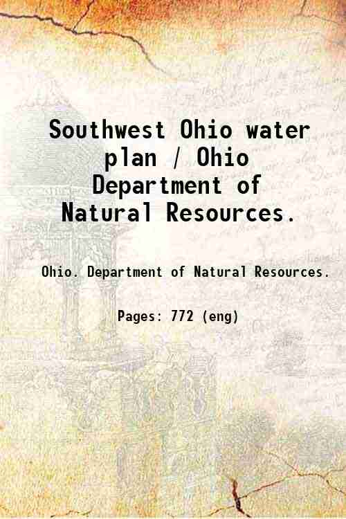 Southwest Ohio water plan / Ohio Department of Natural Resources.